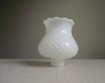 White Hobnail Glass Shade , Milk Glass Chimney Shade , Tulip Shaped Lamp Chandelier Globe