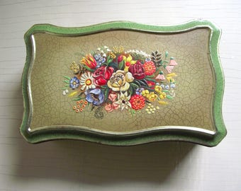 Vintage Hinged Tin , Decorative Embossed Floral Storage Box , Metal Fruit Cake Tin , Made In Holland , Kitchen Office Decor , Cottage Chic