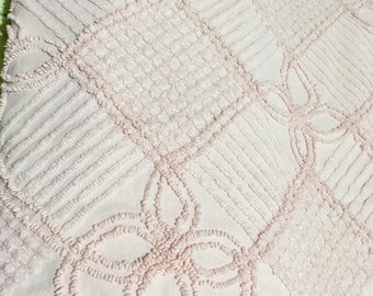 Vintage Full Size Pink Cotton Chenille Bedspread for Cutter or Repair