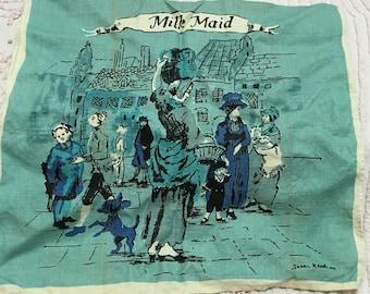 Vintage Irish Linen Milkmaid Tea Towel