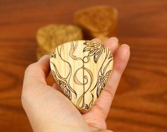 "Treble Guitar Pick Box, 2-1/4"" x 2"" x 1 D"", Pattern G34 Deep, Solid Cherrywood, Laser Engraved, Paul Szewc"