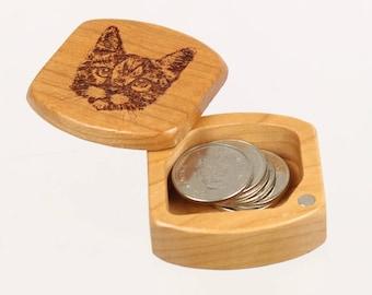 "Cat Face Wooden Box, Solid Cherry, Pattern MS12 Cat, 1-3/4""L x 1-7/8""W x 7/8""D, Masterpiece Laser"