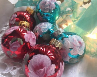 Hp Hand-painted Shabby cottage roses glass  ornaments Set of six christmas  holiday French Victorian mix combo