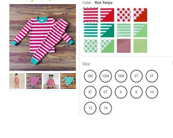 PREORDER for Christmas PJ's  6m-14   Stripes & Dot's PJ's with monogram