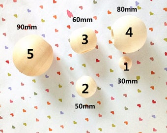 5 Natural Wooden Beads / Round Wooden Beads. 5 sizes for choose. Crafting beads,Size 90 mm,80 mm, 60 mm,50 mm, 30 mm.