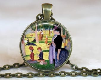A Sunday Afternoon on the Island of La Grande Jatte..Seurat painting.. Glass Pendant, Necklace or Key Ring