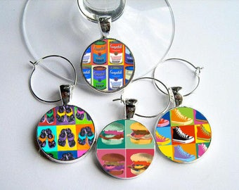 Andy Warhol Inspired..Pop Culture..Wine Charms