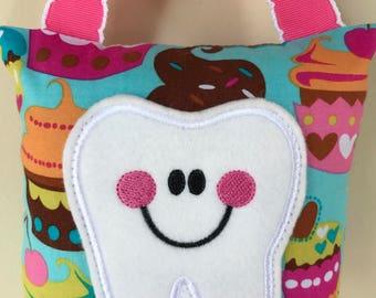 Tooth Fairy Pillow - Aqua Cupcake Pillow with Hot Pink Ribbon - Kids Pillow - Kids Gift