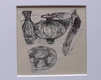 "Still Life ""Small Ceramics"" - Original Monoprint - OOAK"