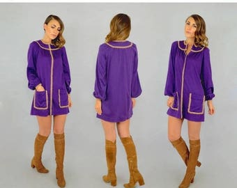 SUMMER SALE 70's Purple Mini Dress