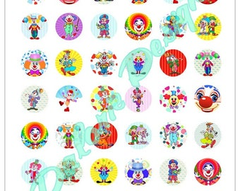 25 mm, Clowns, Collage, Digital Images - clown - Board for round cabochons 25 mm