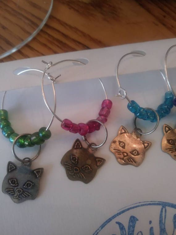 Wine glass charms-  cat charm colors set of 4/ pets/ animals/