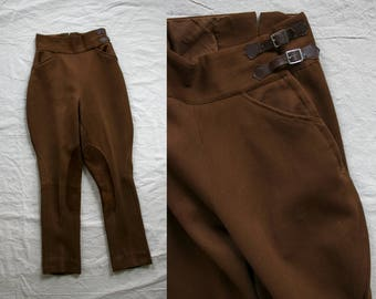 1940s Brown Buckle Up Wool Jodhpurs/ Equestrian Riding Pants/ Leather Knee Pads/ 40's Women's Pants/ High Waisted