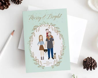Christmas Card with Family Portrait   Family Holiday or Christmas Portrait   Custom Family Portrait Illustration   Holiday Card
