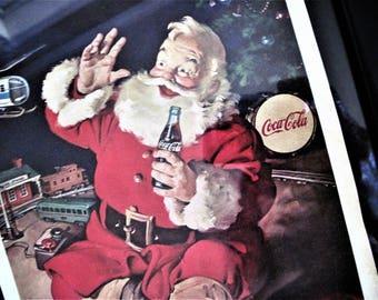 Vintage Santa Print, Coca Cola Santa, Coke Santa Print, Framed Santa Print, Santa Claus Print, Vintage Coke Print, Santa With Coke, Santa
