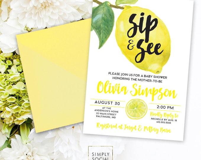 Lemon Baby Shower Invitation - Fresh Lemon Sip and See Printable Fresh Squeezed Lemonade Lemon Party Printably Invitation Main Squeeze