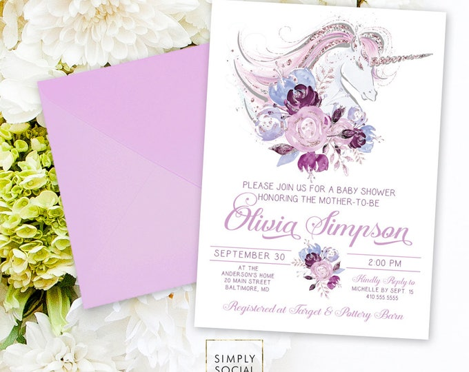 Unicorn Baby Shower Invitation - Printable Party Invitation Purple Pink Floral Unicorn Faux Glitter Unicorn Invite Baby Girl Mommy to Be