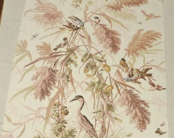 Fabric Panel Cotton Chintz in Botanical and Bird Print, Home Decor and Craft Fabric, Decorator Fabric, Cream Background with Tans and Greens