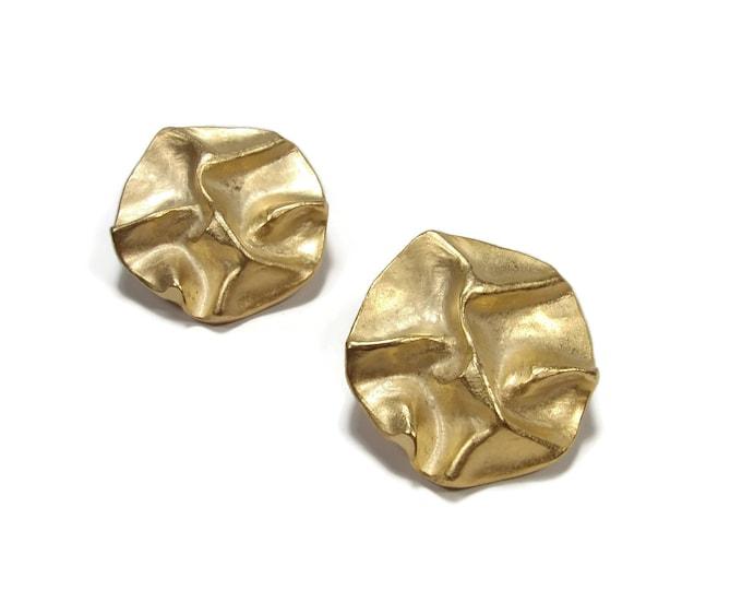 Vintage 1980s Designer P&M Paris Gold Tone Earrings