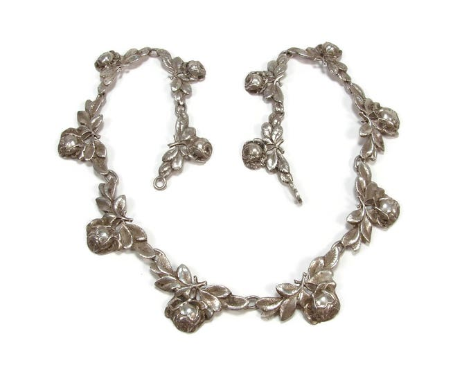 Vintage Coppini 800 Silver Rose Necklace