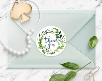 Thank You stickers, Watercolor Leaf Garland Wreath, Round Cut Sticker for Etsy Sellers, Wedding, Party, Matte Lamination Finish