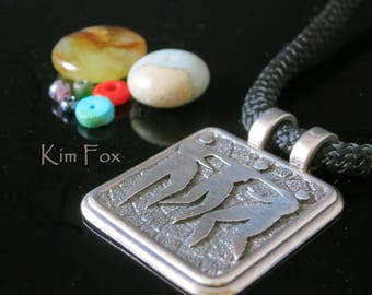 Pendant of the Three Graces - Faith - Hope and Charity designed by Kim Fox in Sterling Silver - rectangular with double bail