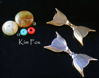 Deco Bloom - Art Deco Style hook and eye clasp with 3 loops for connection in sterling silver and bronze by Kim Fox