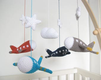 Crochet Airplane Nursery, Amigurumi Plane Baby Mobile, Baby Boy Aviation Nursery Decor
