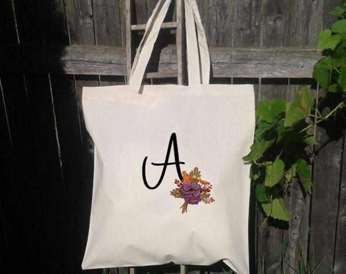 Fall Bridesmaid Tote Bag, Monogram Tote Bag, Bridesmaid Wedding Welcome Tote Bag, Initial Tote