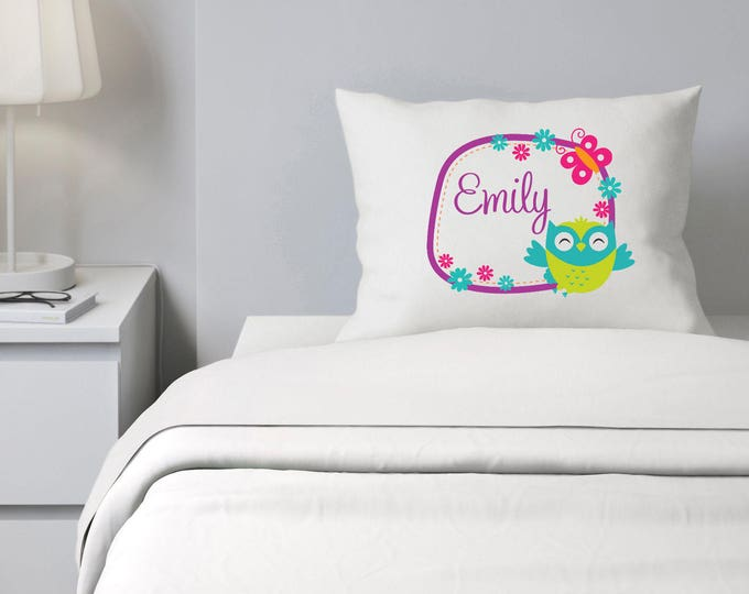Custom Pillowcase, Owl Pillowcase, Girls Bedding, Personalized Pillowcase, Pillowcase for kids