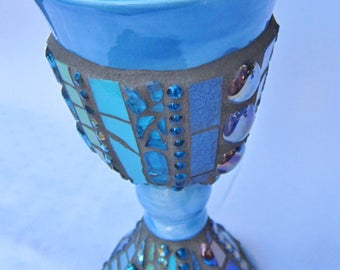 Mosaic Chalice Goblet Blue
