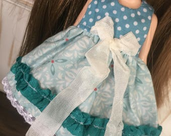Blythe Dress - Teal with Ribbon