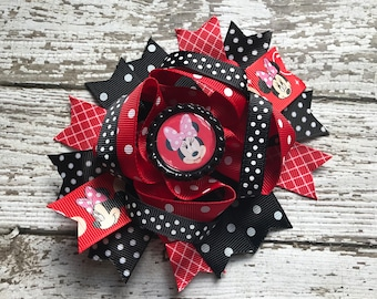 Boutique Baby Girls Layered Minnie and Mickey Hair Bow Clip..Minnie Mouse Hair Bow Perfect for Disney Birthday My First Disney Trip Hair Bow