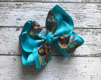 Boutique Baby Girls Layered Moana Hair Bow Clip Moana Hair Clip Disney Inspired Moana Hair Bow Clip