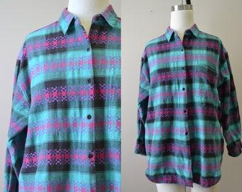 1980s Plaid Cotton Shirt