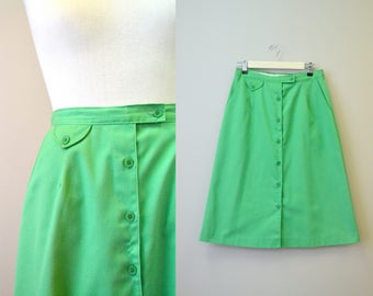 1980s Kelly Green A-Line Twill Skirt