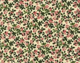 ON SALE Moda Fabric REJOICE Sentimental Studios 1/2 Yard Leaves Berries Ivory 32883-13