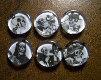 Lot of 6 Mexican Day of the Dead Glass Magnets