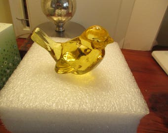 Fabulous Vintage FENTON-Signed Deep, Rich Gold/Yellow, Thick, Fine GLASS BIRD Paperweight/Home Decor - Mint/Gorgeous