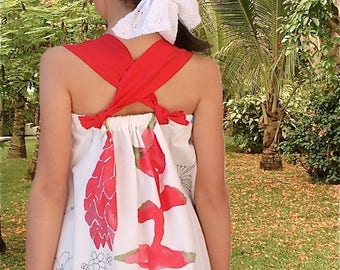 Cross strap back girl dress grose exotic tropical flowers in pure cotton