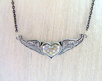 Womens Heart Necklace, Necklace, Winged Heart Necklace, Gifts for Women and Teen Girls, Heart Jewelry,