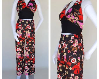 Vintage 70s Pants Set / 70s Halter Top / Floral Pants / Wide Leg Pants / Hippie Pants