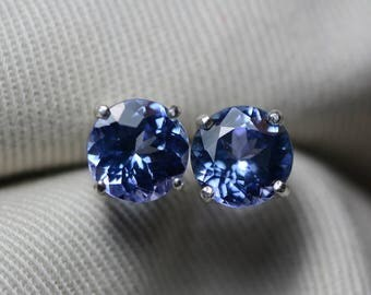 Tanzanite Earrings, Certified 3.92 Carat Round Cut Stud Earrings, Sterling Silver, Anniversary Birthday Christmas Gift Tanzanite Jewelry