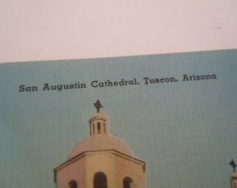 San Augustin Cathedral Tuscon Arizona Tichnor Quality Views Postcard