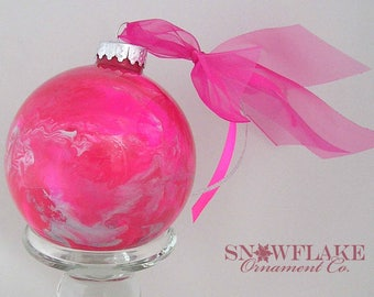 HOT PINKS Custom Christmas Ornament - Personalized Glass Gift