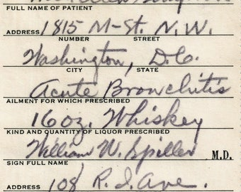3/16 1933 Ellen Whiskey Prohibition Bronchitis Prescription Rx Stub Washington DC Vintage Doctor Spiller Bar Boardwalk Empire MD Speakeasy