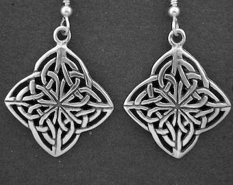 Sterling Silver Celtic Knot Earrings on Sterling Silver French Wires