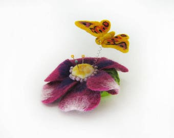 A cushion for needles - Butterfly over the flower