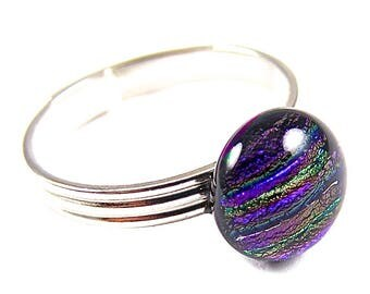 """Adjustable Glass Ring - Violet Purple with Teal Blue Gold Striped Reed Stripes Dichroic Fused Glass - Fits Size 5 6 7 8 9 10 Tiny - 1/4"""" 8mm"""
