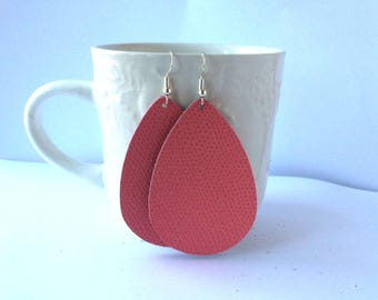 Coral Saffiano Leather Teardrop Drop Earrings